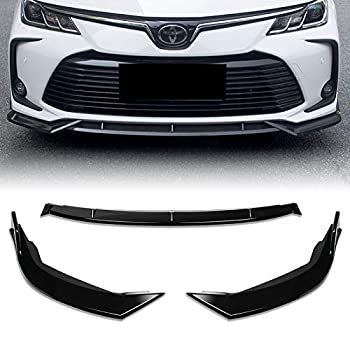 EPARTS 3 Pieces Style Black ABS Front Bumper Lip Spoiler Side Body Kit Trim Protection Compatible with 2019-2020 Toyota Corolla