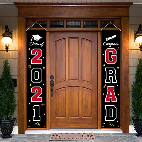 2021 Graduation Banner Decorations - Porch Sign Set Red White Black Welcome Door Décor Party Favors Supplies For Indoor Outdoor