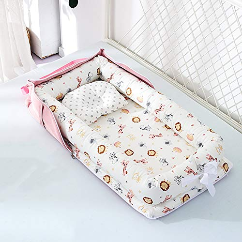 Baby Bassinet for Bed -Animal Kingdom Baby Lounger - Breathable & Hypoallergenic Co-Sleeping Baby Bed Baby Nest - 100% Cotton Portable Crib for Bedroom/Travel(0-24 Months)