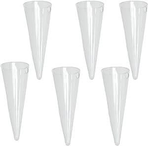 6 X Cone Hanging Glass Vase Bottle Pot Terrarium Flower Planter Decor DIY