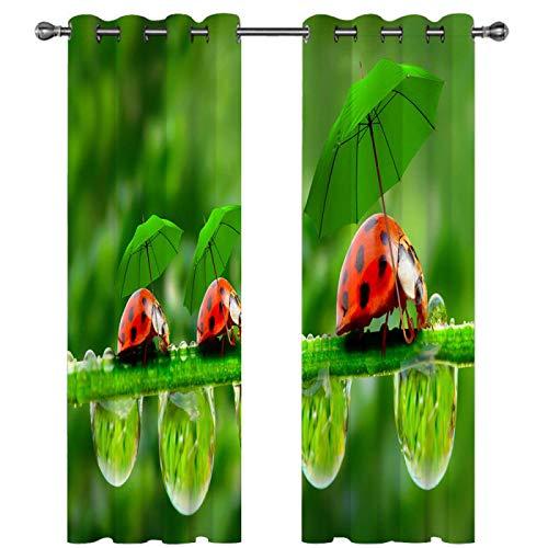SSHHJ Cortinas Opacas Impresas Digitales Cortina Impermeable con Efecto 3D Que Se Puede Reutilizar Decoración Creativa del Hogar De Moda 2 Piezas