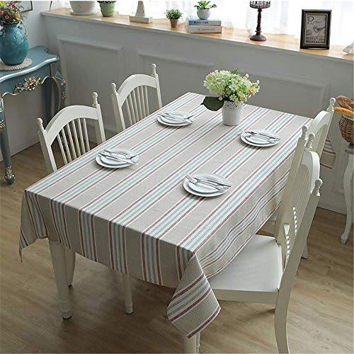 XTUK Tischdecke Verdickte Baumwolle Gestreift Moderne Minimalistische Tischdecke Geometrische Farbabstimmung Couchtischdecke Tischschutz Küchenbuffet Dekoration Essplatte 90x90cm