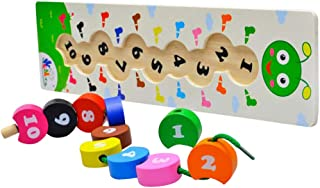 Flameer Wooden Threading Beads Numbers Blocks Threading Toy - String Lacing Beads Set for Toddlers Preschool Educational N...