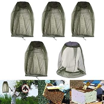 Viilich Lot de 4 filets de protection en nylon pour la tête - Pour le camping, l'escalade, l'apiculture, la marche et la protection contre les insectes volants (vert).