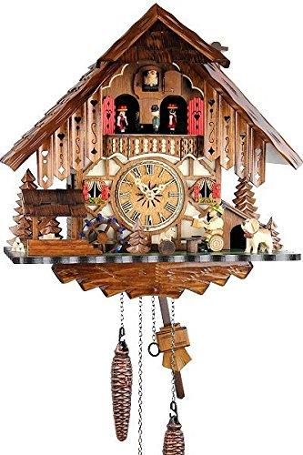 Orologio a cucù in vero legno, con meccanismo al quarzo, a batteria, 35 cm, 18571