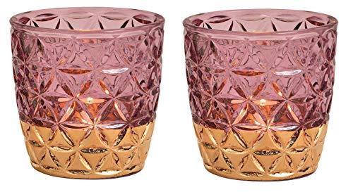 Schmucks HOME Windlicht aus Glas Teelichthalter orientalisch im 2er Set, Kerzenständer, Frühlings-Deko Windlicht Gold (rosa)