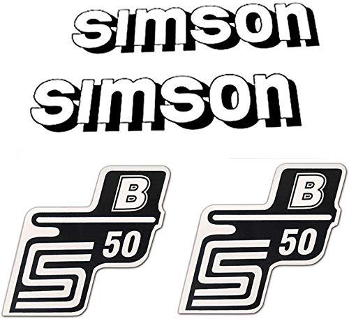 4-teiliges Aufkleber Set Simson S50 B weiß/schwarz für Tank und Seitendeckel