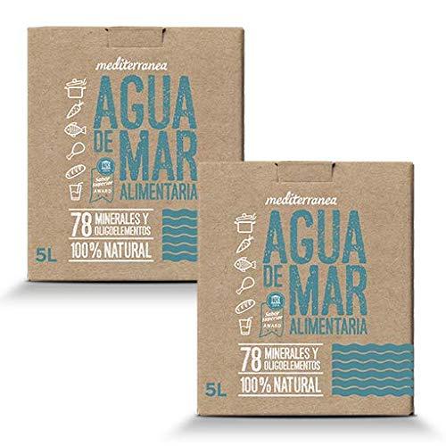 Mediterranea - Agua de Mar para consumo alimentario en Pack Ahorro de 2 Box de 5 Litros (Total 10 litros) - Alto contenido en Magnesio.