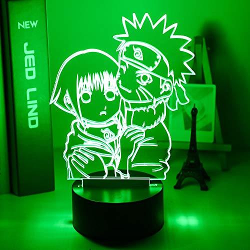 Uzumaki Naruto y Hinata Hyuga Luz de noche colorida para dormitorio de estudio, decoración de sala de noche USB LED lámpara de manga regalo