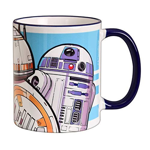 Elbenwald Star Wars Tasse Droiden Trio Motiv Rundumdruck zu Episode IX The Rise of Skywalker Keramik 320 ml blau
