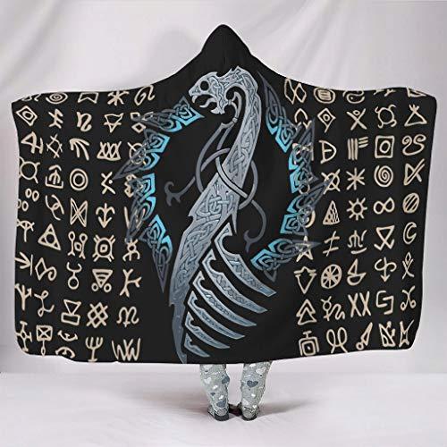 Wandlovers Manta suave con capucha nórdica, vikingo, azul, dragón, nudo celta, Fathurk, Totem, impresión de forro polar, manta de alta calidad para TV, para dormir, color blanco, 150 x 200 cm