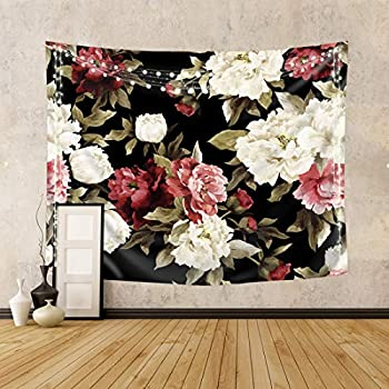 Riyidecor Fabric Watercolor Floral Tapestry Wall Hanging 59Wx51H Inch Vintage Flower Nature Plant Living Room Decoration for Women Girls Chic Botanical Rose Pattern Aesthetic Bedroom Dorm Home Decor