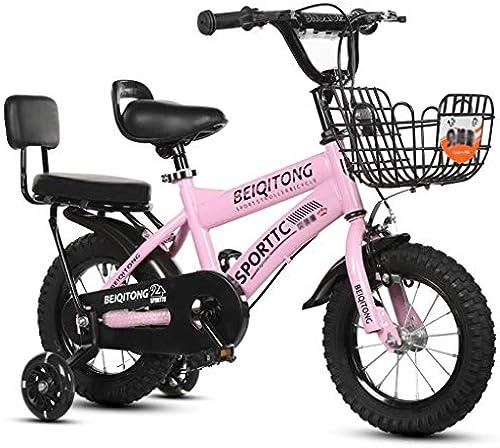 LI HAO SHOP Kinderfürr r, Babyfürr r, Kinder-Mountainbikes, Mountainbikes, Kindergeschenke, Babygeschenke (Blitzrad + Rücksitz) (Farbe   Rosa, Größe   20 in)