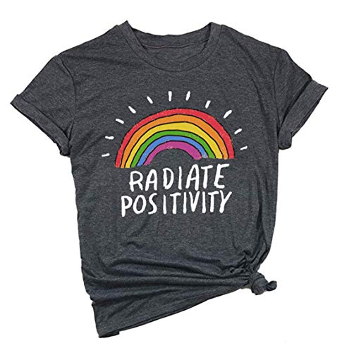 Women Radiate Positivity Rainbow T-Shirt Funny Letter Printed Rainbow Graphic Tee Summer Short Sleeve Shirts Tops Tee Size L (Grey)