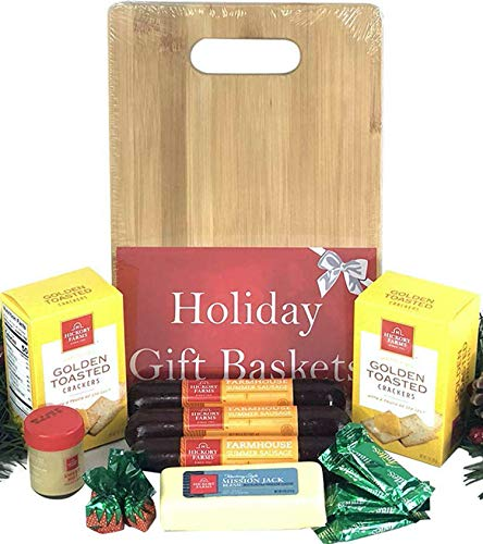 Hickory Farms Gift Basket and Bamboo Cutting Board Gift Set - Ultimate Christmas Edition with Summer Sausage, Cheese, Mustard, Crackers, Strawberry Bon Bons and BONUS Andes Mints