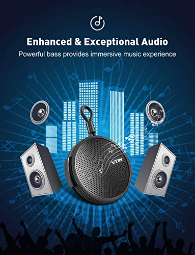 for Bathroom Waterproof Speaker with 8W Louder HD Sound,10H Playtime Portable Bluetooth Speaker with Suction Cup Pool Beach Outdoor Vtin Q1 Shower Bluetooth Speaker Built in Mic Support TF Card