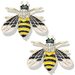 White Honey Bee Brooch With Rhinestone