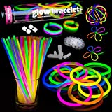 100 Premium Glow Sticks Party Pack Glowhouse Glow Stick Bracelets Necklaces (Multi-Colour) - 204pcs UK Brand