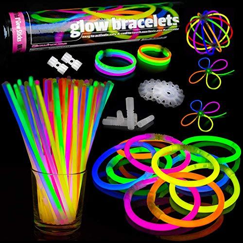Qualité Supérieure - Lot de 100 Bracelets Fluos Lumineux avec connecteur - The Glowhouse - Premium