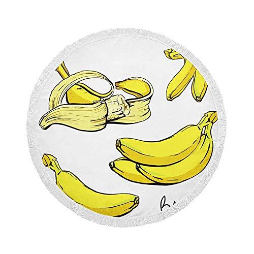 Manta de Toalla de Playa Redonda, Cuatro plátanos maduros Amarillos, Esterilla de Yoga Circular Grande de Gran tamaño de 59 Inch con borlas de Flecos