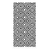 Alfombra Vinílica, 120 x 60 cm, Cuadriláteros, Color Negro, Fondo Blanco, ALV-029