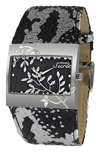 Moog Paris Secret Montre Femme avec Cadran Noir et Argenté, Eléments Swarovski, Bracelet Noir et Argenté en Cuir Véritable - M44932-101