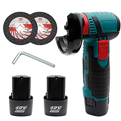 Mini Winkelschleifer, Mini Cutter Maschine, 12V Mini Brushless Wireless Grinder Tool Tragbare Poliermaschine Elektrowerkzeuge mit 2 Diamanttrennscheiben