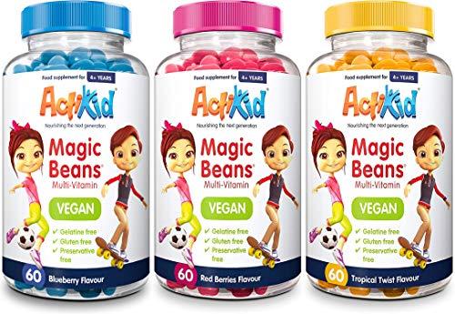 3 Pack ActiKid Vegan Magic Beans Multi-Vitamin Red Berries, Blueberry & Tropical Twist Flavour 60s | Gelatine Free | Vitamins for Kids | Immune Boost