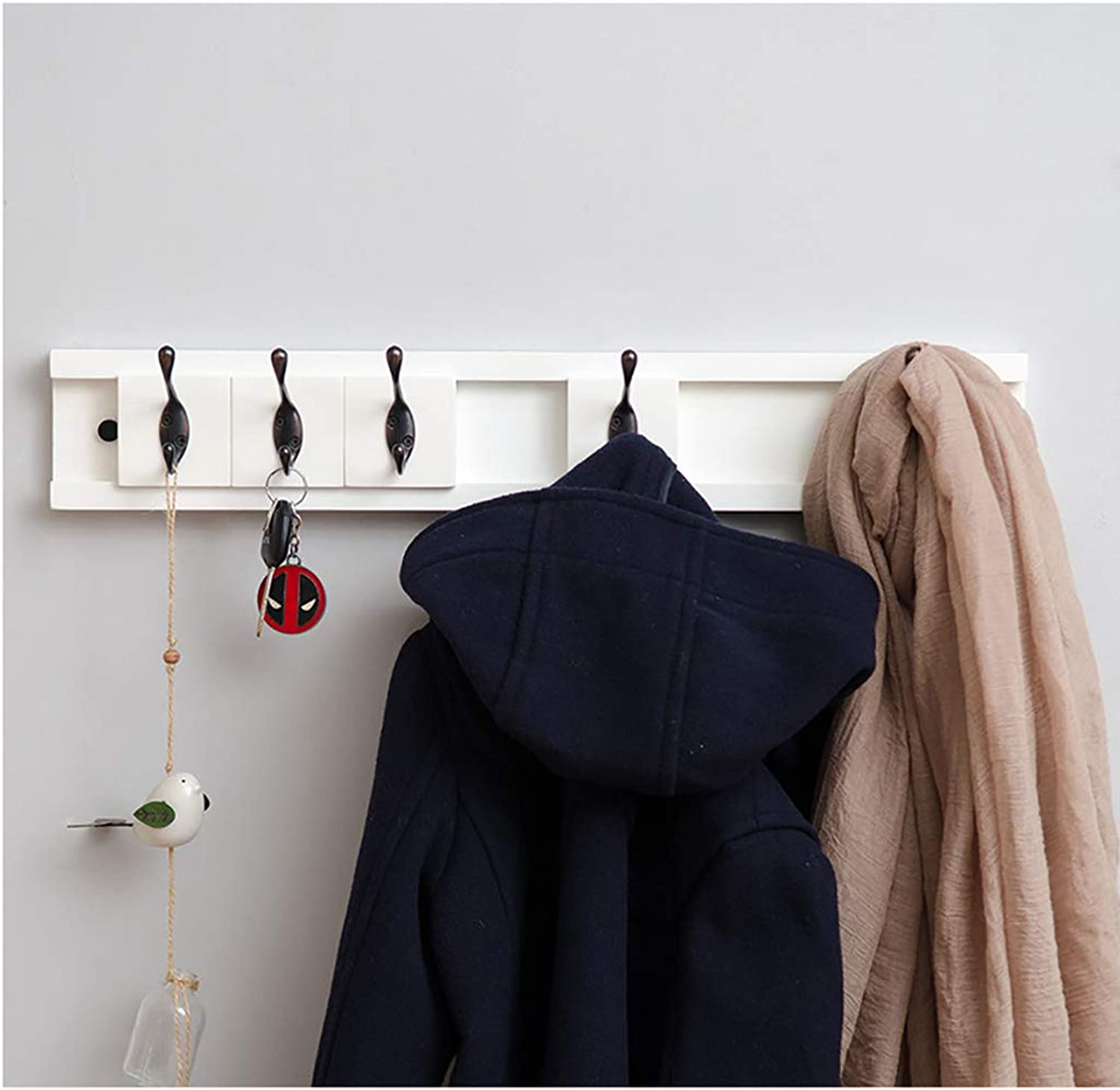 Bamboo Wall-Mounted Coat Rack,Wall Storage Shelf with Removable Hooks (White) (Size   48.3cm)