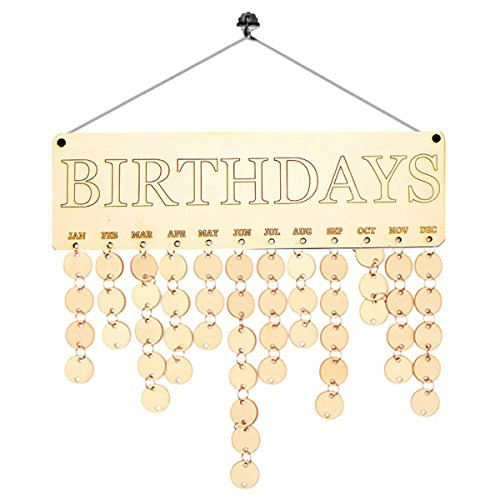 ROSENICE Calendrier en bois pour décorer la maison et se rappeler des anniversaires de la famille et des amis