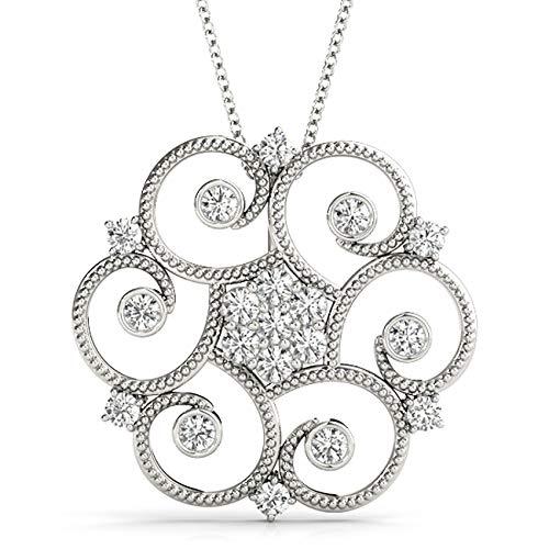 White 14KT 0.35 CT Fancy Circle Bezel Set Round Diamond Pendant Necklace Amcor Design (0.35 Ct Fancy Diamond)