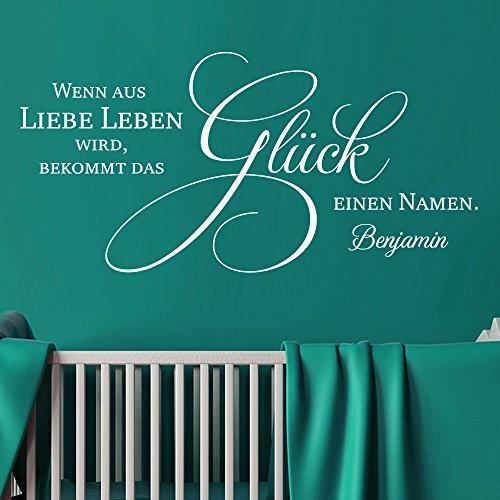 KLEBEHELD® Wandtattoo Kinderzimmer mit Wunschname: Wenn aus Liebe Leben wird bekommt das Glück einen Namen. Farbe grau, Größe 80x39cm
