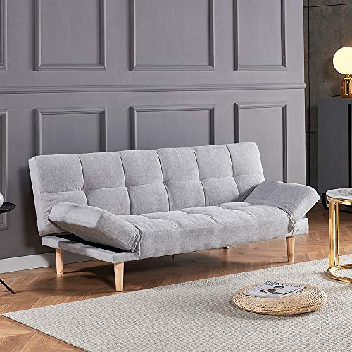 QIHANG-UK 3 Seater Sofa Bed Settee Bed, Soft Padded Fabric Couch Bed with Wood Leg, Simple Modern Space-Saving Sofabed for Home Office Living Room Reception Room, Light Grey