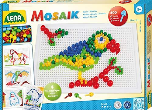 Lena 35614 x Steckmosaikspiel Steckern, Mosaiksteine mit Ø von 5 mm, 10 mm und 15 mm, Mosaikspiel mit 4 Steckvorlagen, Steckspiel für Kinder ab 3 Jahre, Mosaik Bastelset 400 Teile, bunt