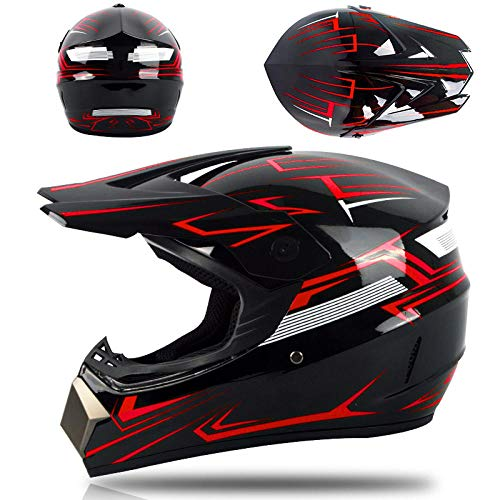 Motor off-road helm kinderen en adolescenten elektrische helm skelter volledige helm-rode ghost_XL