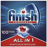 Finish All in 1 pastiglie per lavastoviglie senza fosfati, pastiglie per lavastoviglie con potente Powerball contro lo sporco più ostinato di grasso, confezione risparmio da 100 pastiglie per finitura