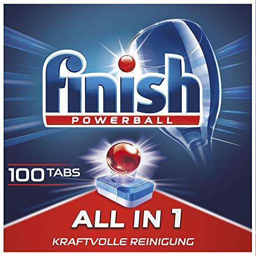 Finish All in 1 Spülmaschinentabs, phosphatfrei – Geschirrspültabs mit kraftvollem Powerball gegen hartnäckigste Fettanschmutzungen – Sparpack mit 100 Finish Tabs