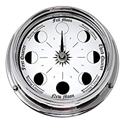 Tabic Handmade Chrome Traditional Moon Phase Clock with White Dial