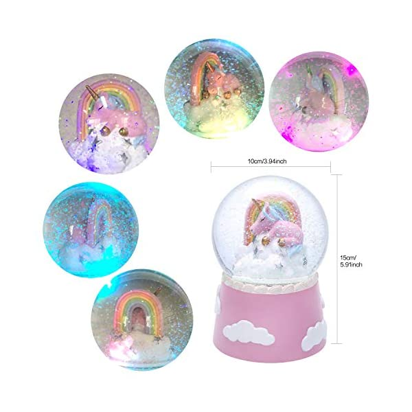 J JHOUSELIFESTYLE Unicorn Snow Globe Musical for Kids, Sleeping Unicorn and Rainbow Rotating Inside as Music Plays… 6