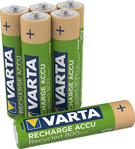 Varta Recharge Accu Recycled Ready-to-Use vorgeladener AAA Micro NI-MH Akku (6er Pack, 800mAh, aus 11% recyceltem Material, Wiederaufladbar Ohne Memory Effekt)