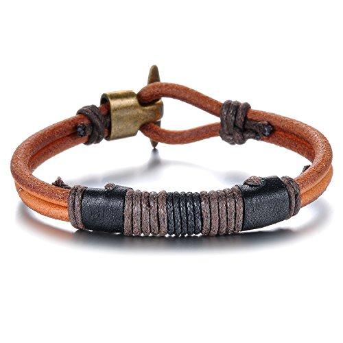 JewelryWe Schmuck Herren Armband, Tribal Geflochten Armreif, Leder Echtleder Seil Legierung, Braun Schwarz