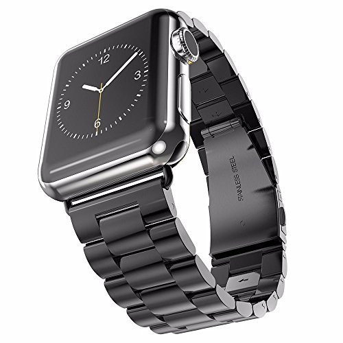U191U Band Compatible with Apple Watch 38mm 42mm Stainless Steel Wristband Metal Buckle Clasp iWatch 40mm 44mm Strap Replacement Bracelet for Apple Watch Series 4/3/2/1 Sports Edition(Black, 38MM)