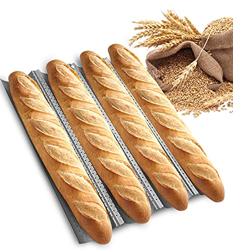 SMYLE Plus French Baguette pan for baking 15' x 13' Carbon Steel 4 Loaf Perforated Bread Tray Baking Tray Bake Mold Toast Italian Bread Pan Oven Toaster Pan Cloche Nonstick Loaf Bake Mold