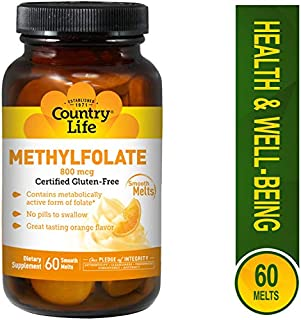 Country Life Methyl Folate 800 mcg Lozenges, 60 Count