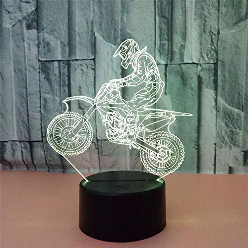 Nachtlampje LED 3D motorfiets Rider Action Figuur 7 kleuren Touch Illusie Optische tafellamp model huisdecoratie