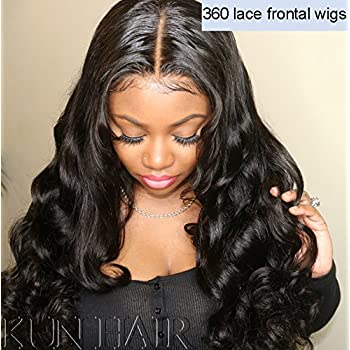 Amazon Com 360 Lace Wigs Pre Plucked Human Hair Wigs For Women 150 Density Loose Wave 360 Frontal Wigs For High Ponytail And Updo Brazilian Remy Bouncy Wave Human Wigs With Baby