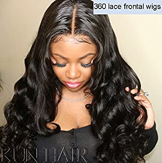 360 Lace Wigs Pre Plucked Human Hair Wigs for Women 150% Density Loose Wave 360 Frontal Wigs for High Ponytail and Updo Brazilian Remy Long Wavy Human Wigs with Baby Hair Natural Color 18 inches