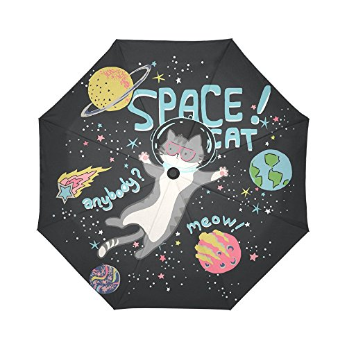 InterestPrint Cute Space Cat Windproof Automatic Open and Close Folding Umbrella,Universe Planet Travel Lightweight Outdoor Umbrella Rain and Sun