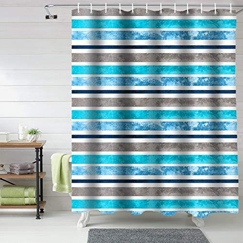 72x72inch Bathroom Shower Curtains, Ombre Turquoise Teal, Fabric Bathroom Curtains Window Machine Washable&Water Proof, Stripe Watercolor Luxury Unique Target Shower Curtains Set With Hooks