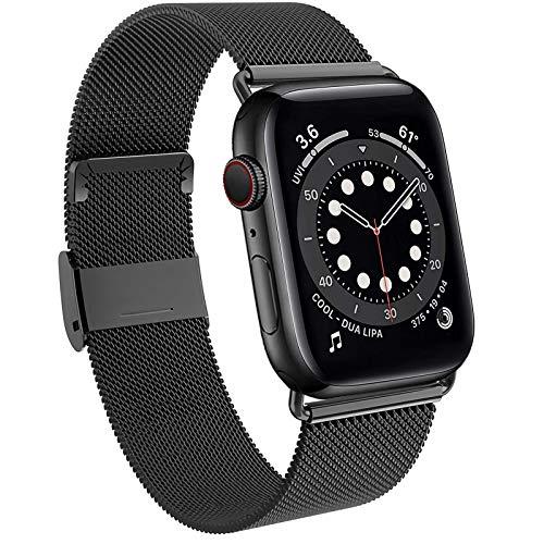 DEOU Cinturino Acciaio Compatibile con Apple Watch Cinturino 38mm 40mm 42mm 44mm, Magnetico Cinturini di Ricambio Traspirante per iWatch SE Series 6 5 4 3 2 1 (42/44 MM, Nero)